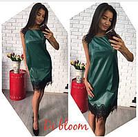 Платье короткое из эко кожи с кружевом 6 цветов SMslip1254
