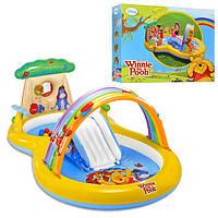 Детский надувной игровой центр с горкой и душем Винни Пух 57136 Intex,282х173х107см