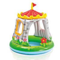 Бассейн детский надувной с навесом «Замок» 57122 Intex, 122х122 см