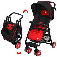Коляска детская MOTION M 3295-3 (1шт) прогулоч,глуб.крыша,колеса6шт,корзина,красн-черн,