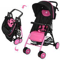 Коляска детская PILOT M 3294-8 (1шт) прогулоч,глуб.крыша,колеса6шт,корзина,розов-черн,