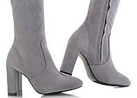 Женские сапоги, ботфорты серые размеры 36