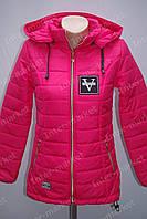 Подростковая демисезонная куртка на замке с капюшоном розовая