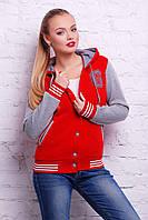 Женская кофта из хлопка с капюшоном красный Бомбер К д/р