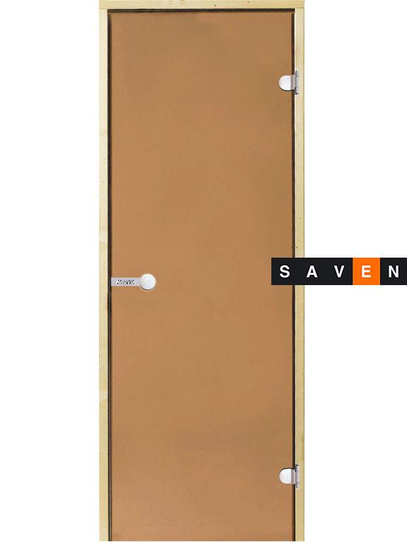 Стеклянные двери для сауны Harvia 80х190 бронза коробка ольха/осина