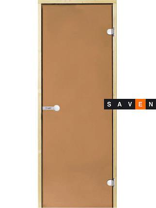 Стеклянные двери для сауны Harvia 80х190 бронза коробка ольха/осина, фото 2