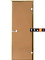Стеклянные двери для сауны Harvia 70х190 бронза коробка ольха/ель