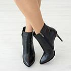 Черные кожаные ботинки 38. 40. на каблуке Woman's heel женские с заостренным носком, фото 2