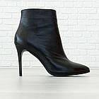 Черные кожаные ботинки 38. 40. на каблуке Woman's heel женские с заостренным носком, фото 6