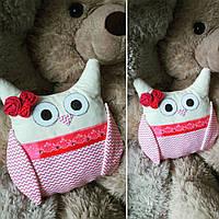 Handmade Ручная работа сова декоративная подушка, игрушка розовая