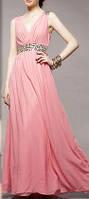 DL-198  Вечернее выпускное шифоновое платье в пол с пышной юбкой розовое