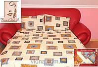 Качественное постельное белье бязь в синие квадратики семейное