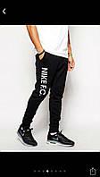 Штаны Nike, найк, черные, с белым лого, стильные, молодежные, хб, в наличии, ск98