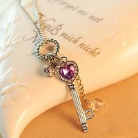 Женские подвески Ключ с короной на цепочке