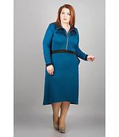 Батальное женское платье Корнели морская волна ТМ Olis-Style 54-62 размеры