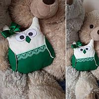 Handmade Ручная работа сова декоративная подушка, игрушка зеленая