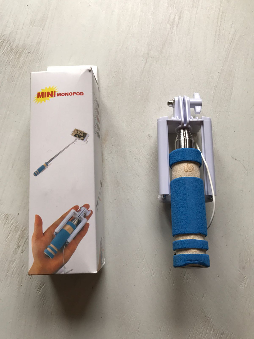 Голубой монопод мини (селфи палка) для телефона
