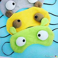 Маска для сна с глазками и ушками желтая и зелёная поштучно