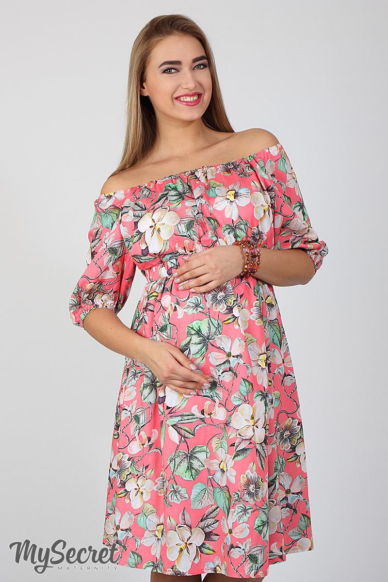 Шикарное летнее платье из штапеля для беременных и кормящих Roxolana, цветы  на коралловом фоне - 997d53ff762