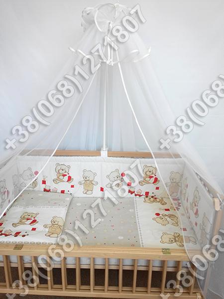 """Детское постельное белье в кроватку """"Карапуз"""" комплект 5 ед. (мишка игрушки бежевый)"""
