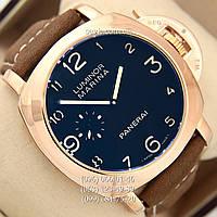Мужские механические Часы Panerai Officine Mechanic Gold\Blue - Brown с автоподзаводом