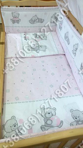 """Детское постельное белье в кроватку """"Карапуз"""" комплект 5 ед. (мишка игрушки розовый)"""