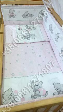 """Детское постельное белье в кроватку """"Карапуз"""" комплект 5 ед. (мишка игрушки розовый), фото 2"""