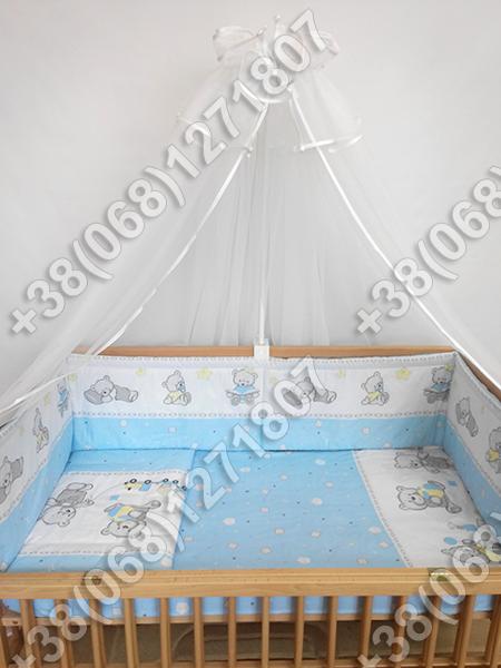 """Детское постельное белье в кроватку """"Карапуз"""" комплект 7 ед. (мишка игрушки голубой)"""
