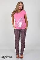 Удобные брюки для беременных Hanna, из принтованого штапеля, коралл с синим*