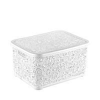 Контейнер с крышкой для хранения мелочей АЖУР ELIF (белый) 6 л