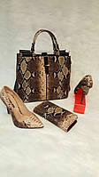 Набор: сумка, кошелек, обувь рептилия коричневый