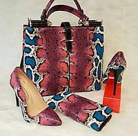 Набор: сумочка, кошелек, обувь рептилия розовый
