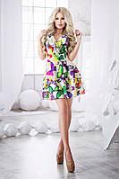 Легкое белое шифоновое платье с яркими бабочками. Арт-3016/18