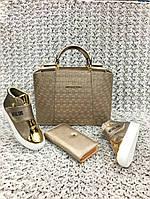 Набор: сумка, кошелек, обувь MK золото