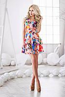 Легкое розовое  шифоновое платье с яркими бабочками. Арт-3016/18
