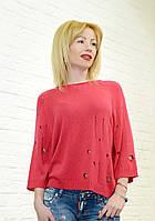 Свитер женский красный широкий брендовый в цветах King Kong