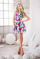 Легкое голубое  шифоновое платье с яркими бабочками. Арт-3016/18