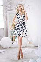 Легкое белое  шифоновое платье с черными  бабочками. Арт-3016/18
