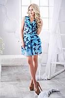 Легкое голубое  шифоновое платье с черными  бабочками. Арт-3016/18