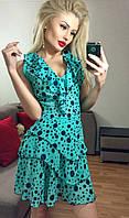 Легкое мятное  шифоновое платье в горох. Арт-3016/18