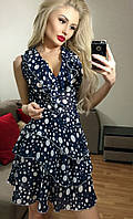 Легкое синее  шифоновое платье в горох. Арт-3016/18