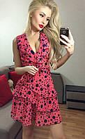 Легкое розовое  шифоновое платье в горох. Арт-3016/18