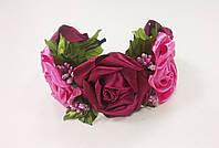 Обруч с розами розово-вишневый
