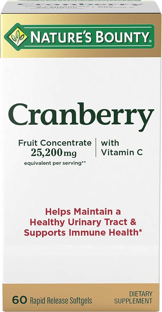 Экстракт клюквы с витамином C, Nature's Bounty, 25200 мг, 60 гелевых капсул. Сделано в США.