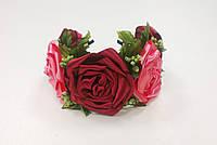 Обруч с розами кораллово-бордовый