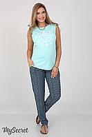 Удобные брюки для беременных Hanna, из принтованого штапеля, аквамарин с синим