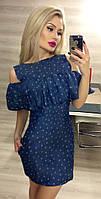 Модное синее принтованное платье из тонкого джинса. Арт-3019/18