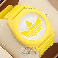 Часы наручные женские Adidas Log желтые/белые (реплика)