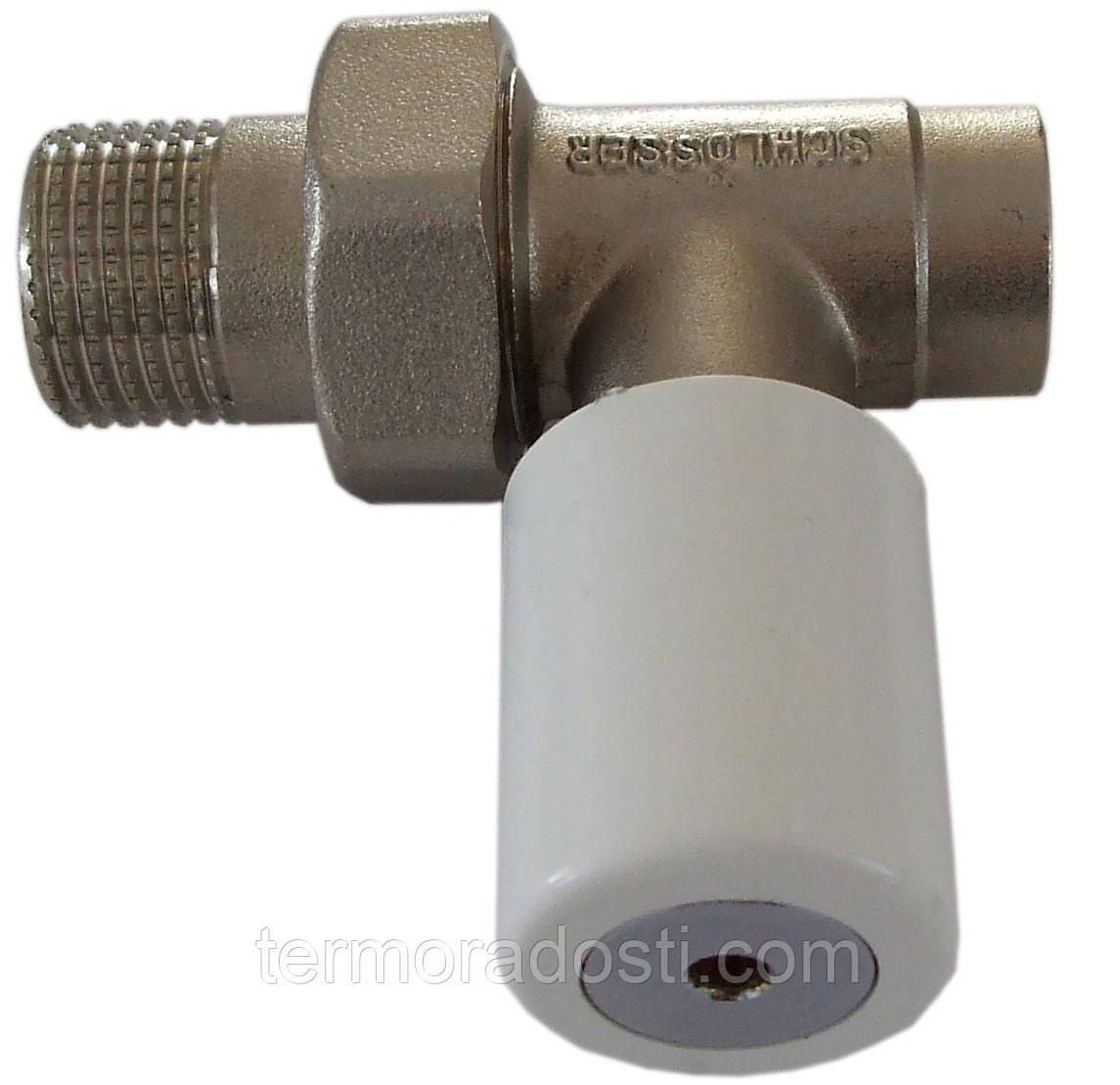 Ручной вентиль радиатора под гайку Schlosser 601400014 (DN15 1/2GZx15мм) прямой