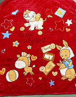 Детский флисовый плед Зоопарк (красный)